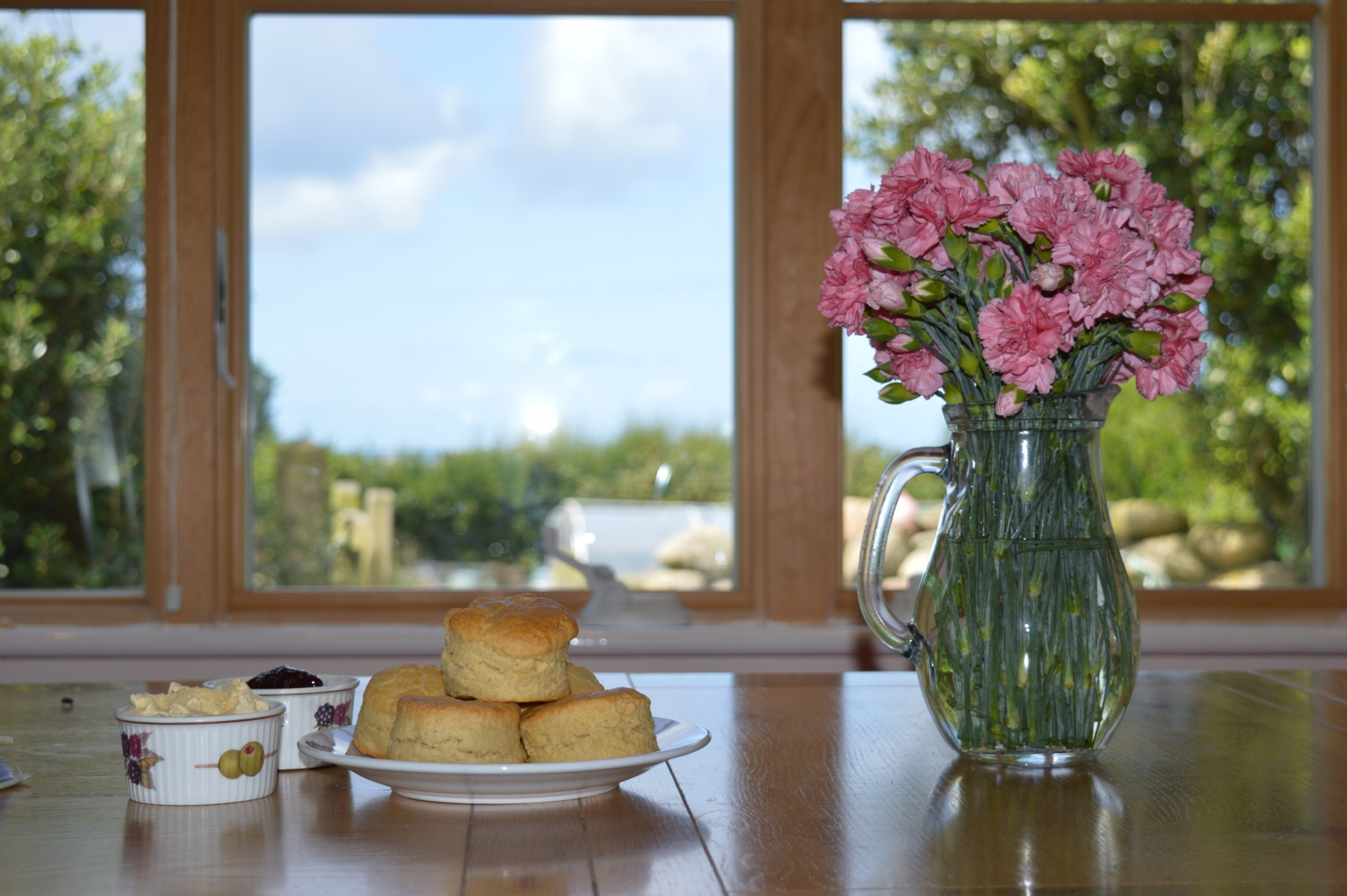 The Croft cream tea and flowers