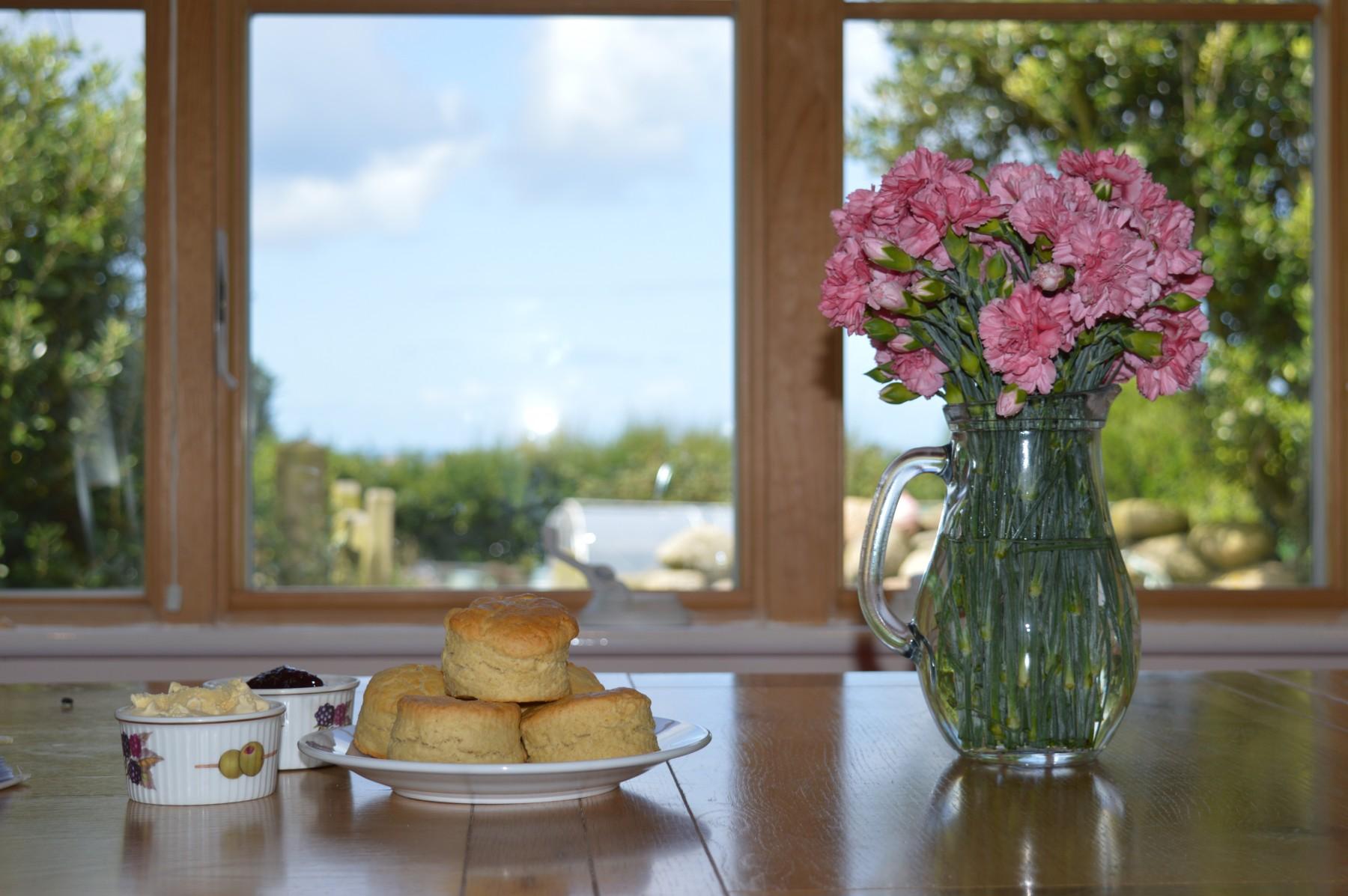 The Croft cream tea and flowers